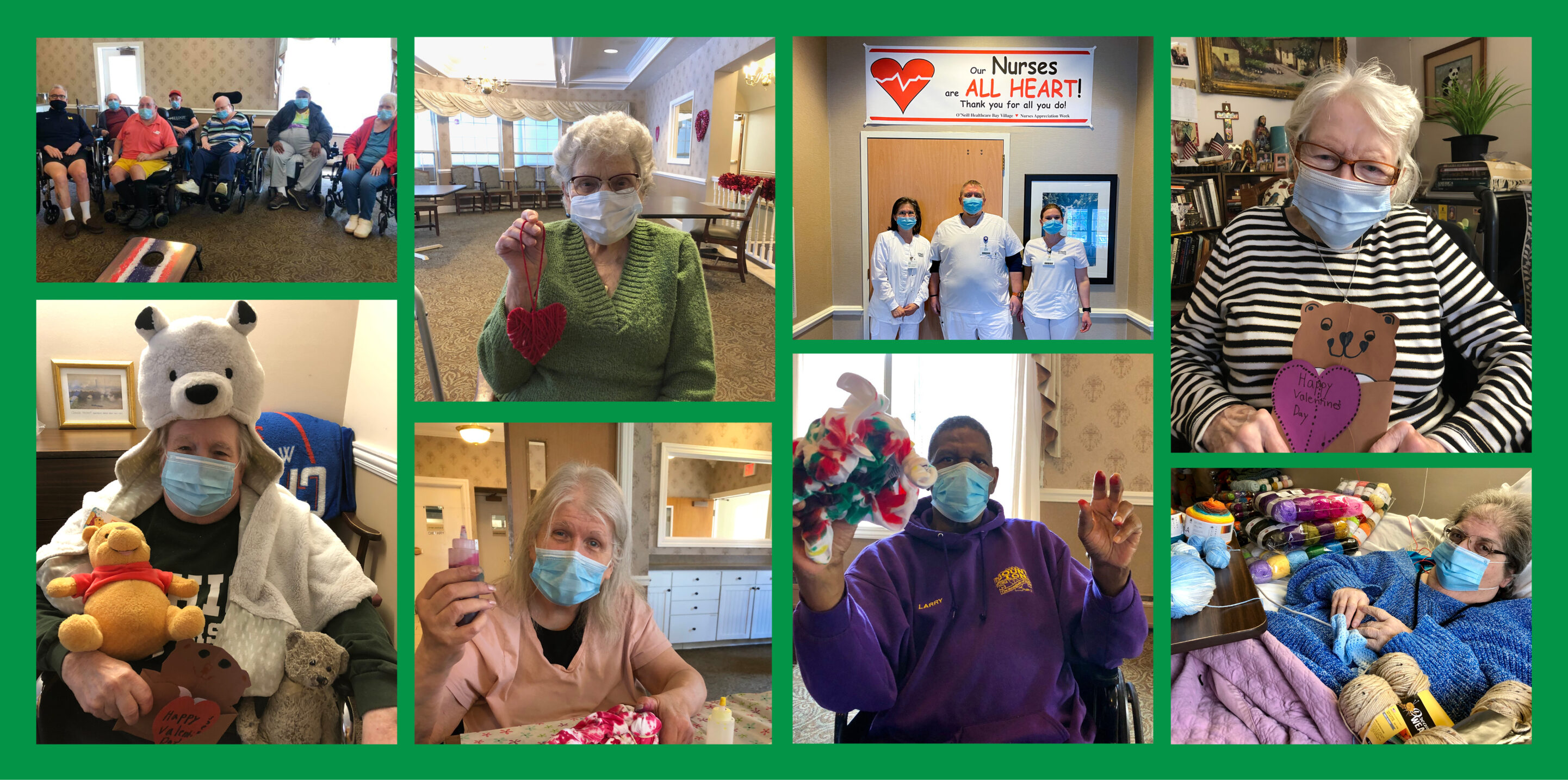 Collage of residents enjoying different activities at O'Neill Healthcare Bay Village